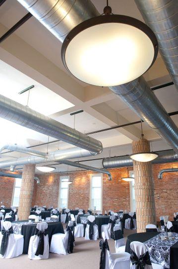 Tall industrial ceilings.