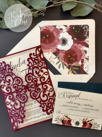 burgundy gold navy laser cut invitation package