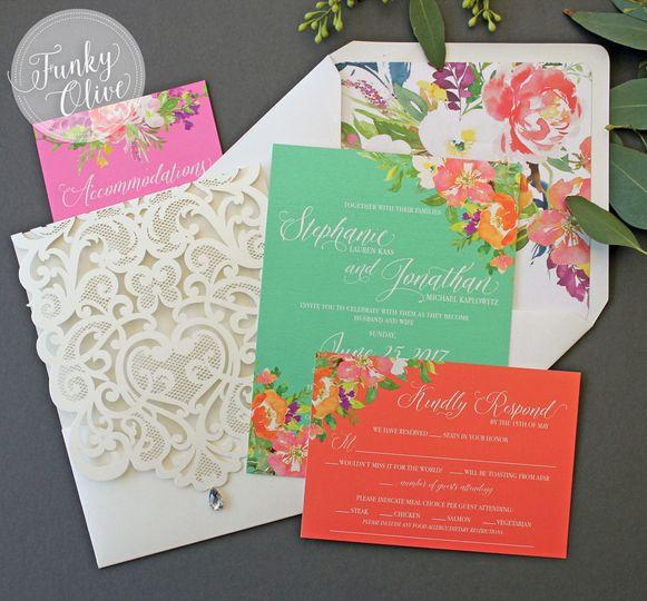 bright floral invitation suite 2