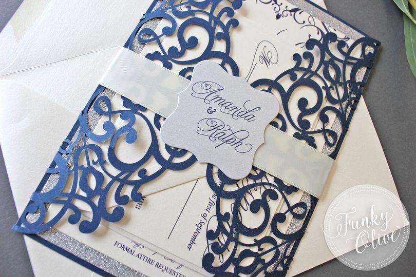 champagne navy invitation bundled