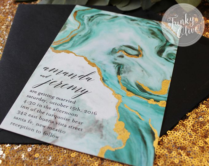 turquoise geode invitation close up