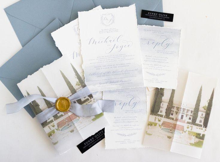 watercolor venue illustration vellum wrap wedding invitation 2 51 408001 157427337919233