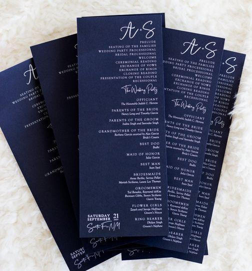 White on navy menu