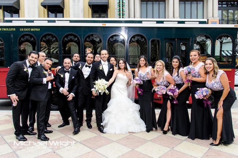 The newlyweds and wedding attendants