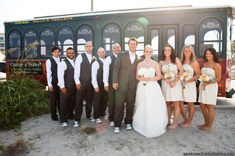 Newlyweds and wedding attendants