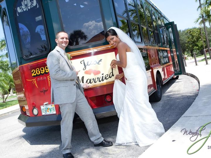 Tmx 1438020339628 Bride And Groom With Just Married Sign West Palm Beach, Florida wedding transportation