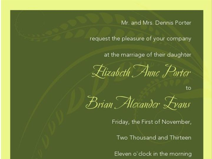 Tmx 1363145687295 SWSInvitationGreenLeaveswithFont100ppi Littleton wedding invitation