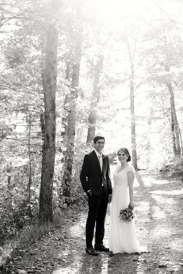 Wedding photos in woods