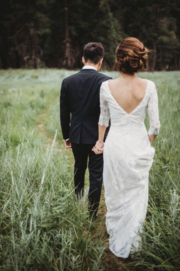 Walking together Yosemite Elopement Hair by MelaniePhoto: Martin Ngo Photography