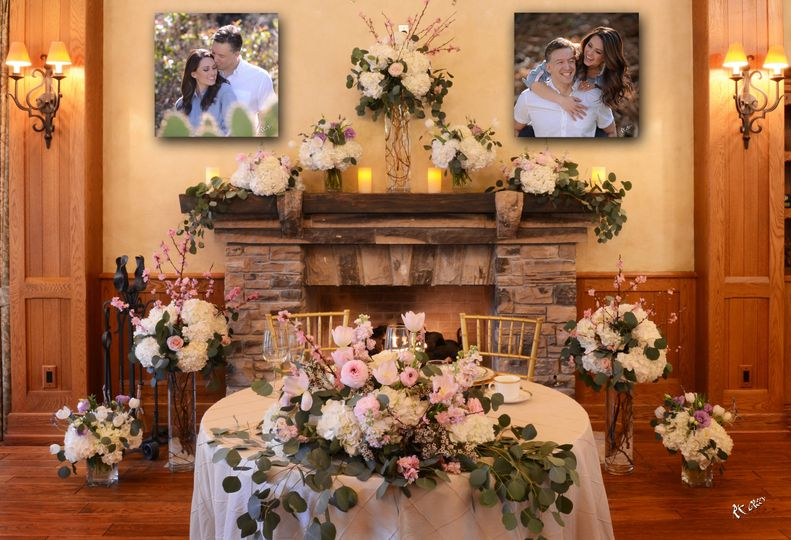 Sweetheart table and fireplace