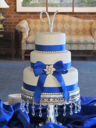 bling blue cake