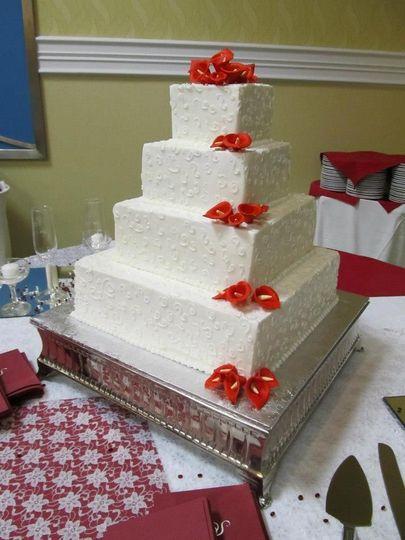 square cake wcalla lillies
