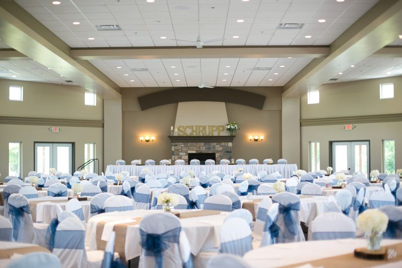 Elegant wedding reception in the Great Hall at Crow River Winery.