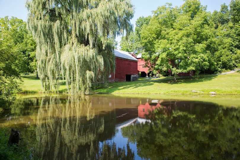 View of barn from across pond
