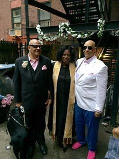 Grooms and the officiant