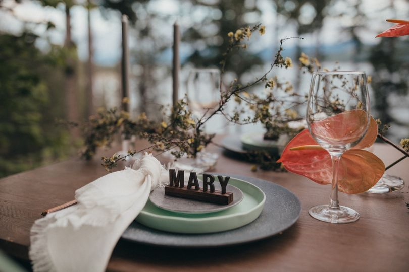 Intimate wedding place settings