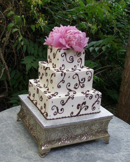 Square Chocolate Drama Wedding cake