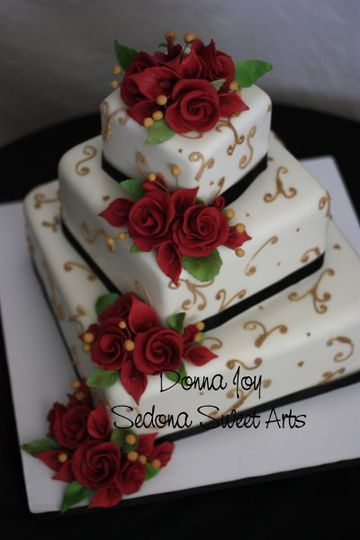 Classic offset Fondant square wedding cake with Donna Joy's Sugar flowers