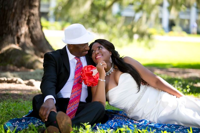 Bride and groom on the grass