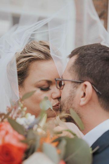 Closeup of newlyweds