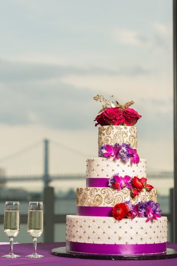 Pink ribbon wedding cake | Martin Reardon Photography
