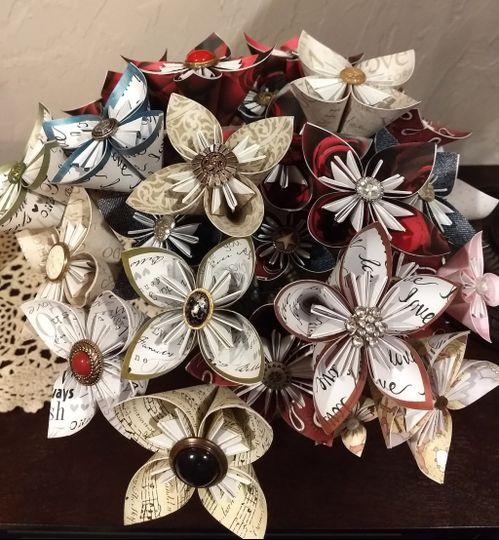 Origami single stem flowers