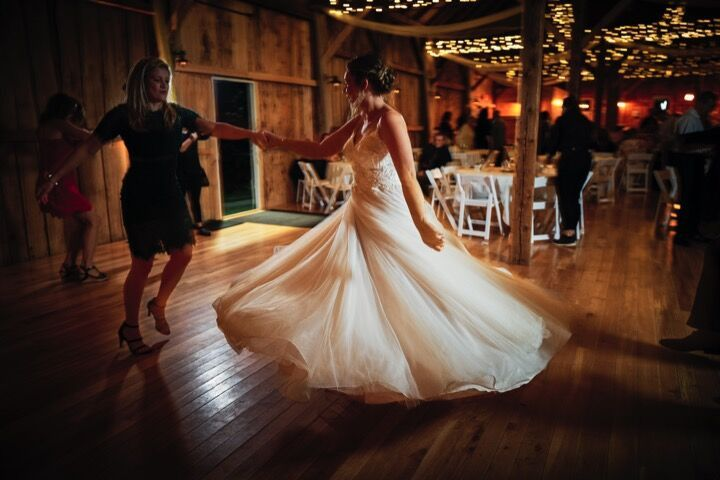 Twirling dress and happy bride