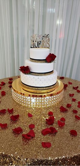 Red, black, & gold cake