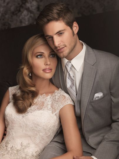 Allure Bridal gown and Tuxedo.  Romantic and classic. This ball gown combines lace and English Net...