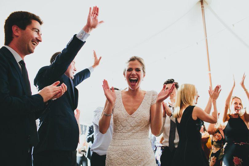 Wedding celebration with a happy bride