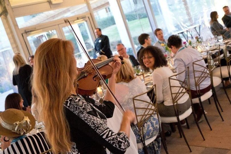 Violinist performing during the reception