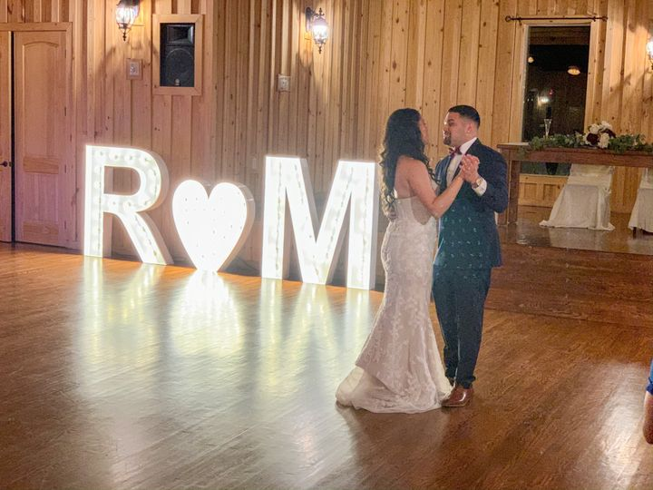 Marquee lettering by dance floor