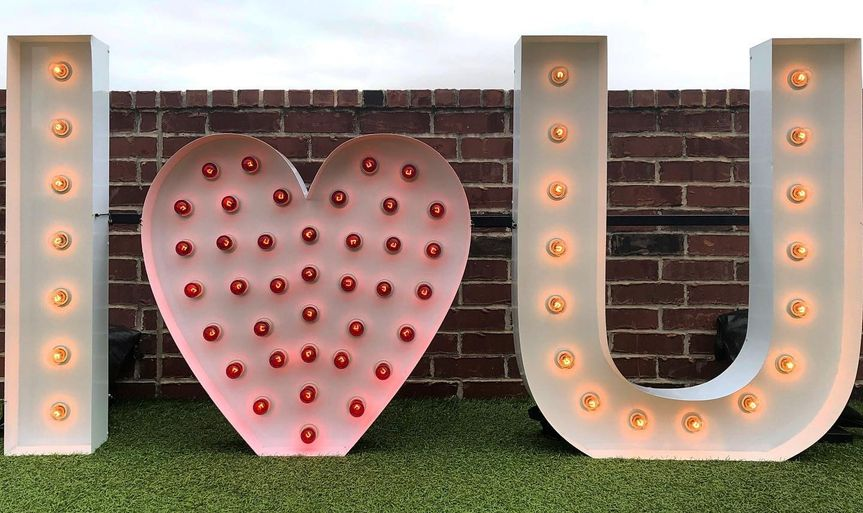 Outdoor garden with letters