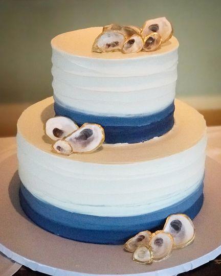 Sea themed cake with blue details