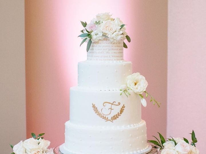 Tmx 1478576329430 Gold Monogram Pinky Marietta, GA wedding cake