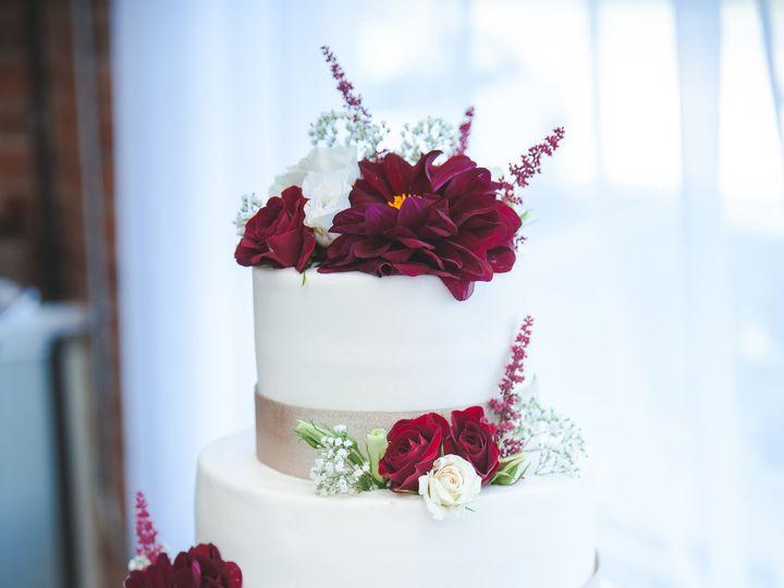 Tmx 1481649255635 Gold Ribbon And Purple Flowers And Roses  Danae An Marietta, GA wedding cake
