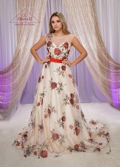 Alesia C Chicago Bridal Designer Red Roses Champagne Flowers Wedding Dress ROSE A line Illusion Top...