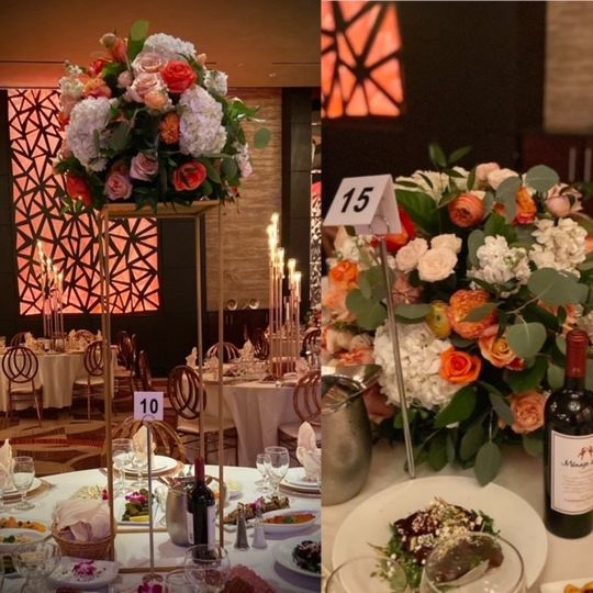 High low coral centerpieces