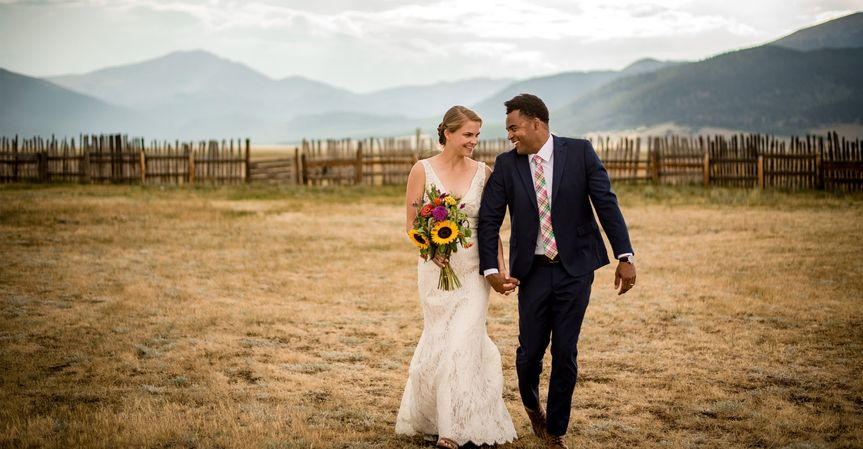 Bride and Groom at ranch