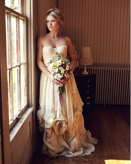 Dana Vintage Lace and Organic Linen Wedding Gown