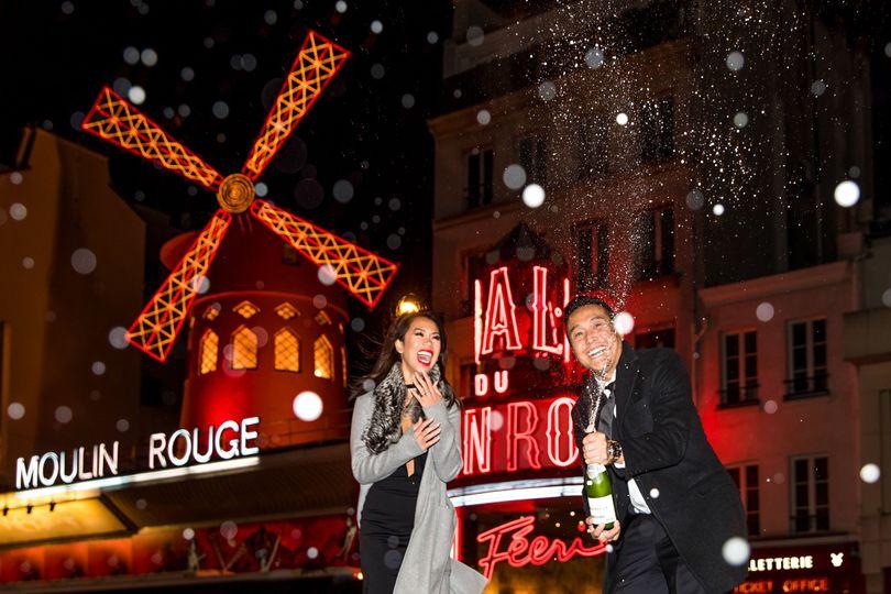 Paris Photographer: Paris engagement photos Moulin Rouge