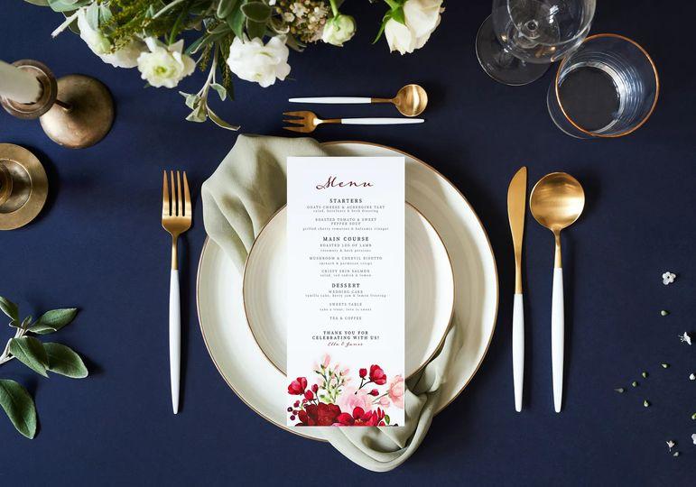 Wedding menu design