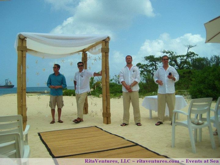 The guys all ready to go. A great view of the bamboo canopy with starfish and shells hanging. Also a...