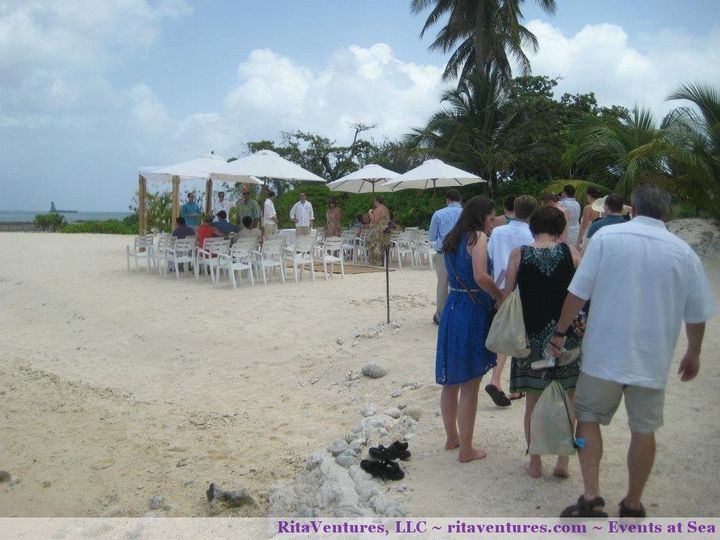 Great view of the guests taking their seats. We had canvas umbrellas to cover them from the sun.
