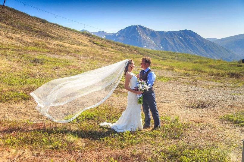 Beautiful wedding photos just outside the lodge