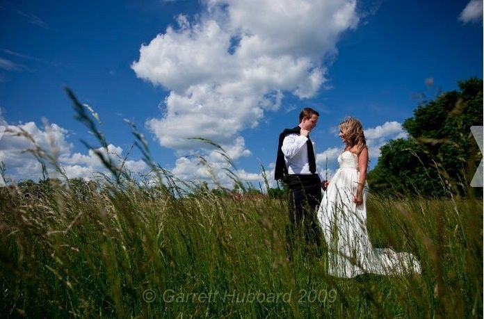 Groom and bride in the field