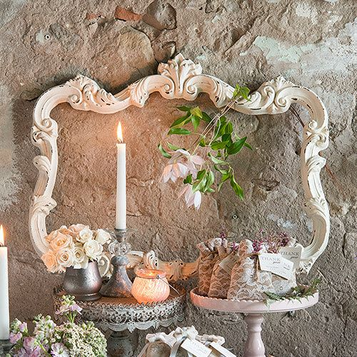 Open Ornate Vintage Inspired Frame In Antique White The rustic distressed finish on this opulent...