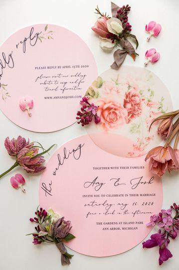 Circular Floral Invites
