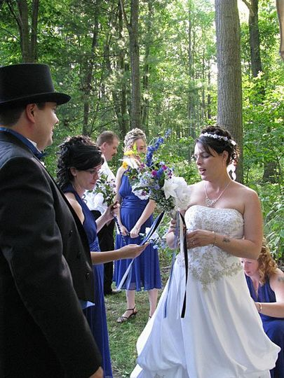 Bill and Theresa mingle with wedding guests after their wedding ceremony. Photo copyright 2009 by...