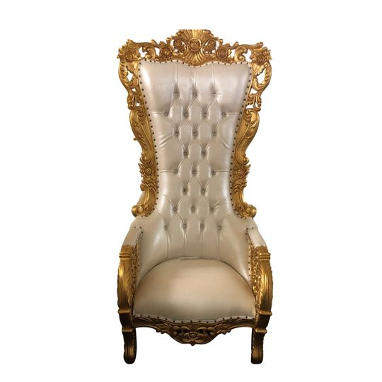 White and Gold Throne Chair